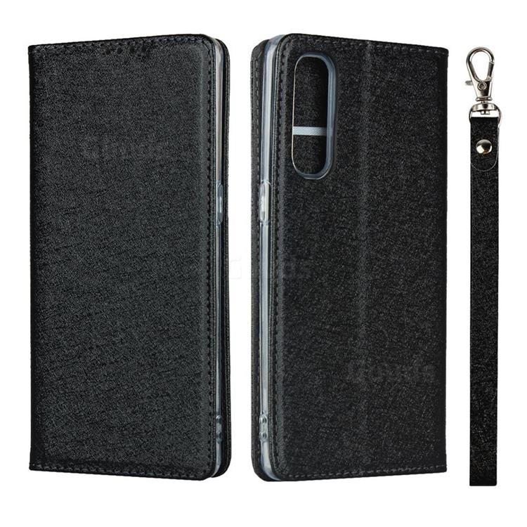 Ultra Slim Magnetic Automatic Suction Silk Lanyard Leather Flip Cover for Oppo Reno 3 Pro 5G - Black