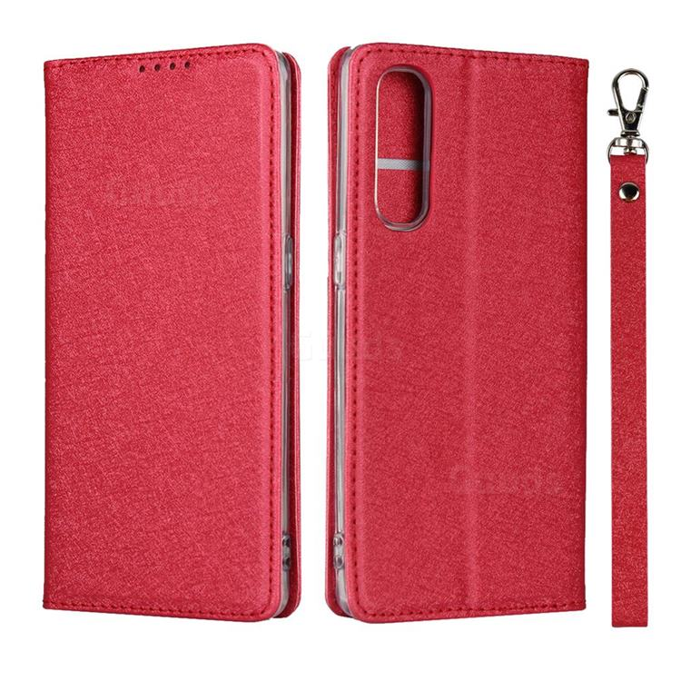 Ultra Slim Magnetic Automatic Suction Silk Lanyard Leather Flip Cover for Oppo Reno 3 Pro 5G - Red