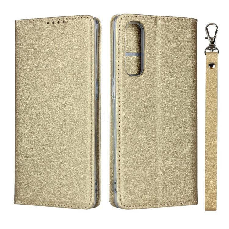 Ultra Slim Magnetic Automatic Suction Silk Lanyard Leather Flip Cover for Oppo Reno 3 Pro 5G - Golden