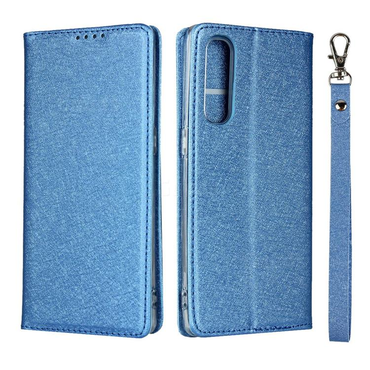 Ultra Slim Magnetic Automatic Suction Silk Lanyard Leather Flip Cover for Oppo Reno 3 Pro 5G - Sky Blue