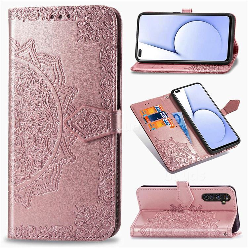 Embossing Imprint Mandala Flower Leather Wallet Case for Oppo Realme X50 Pro 5G - Rose Gold