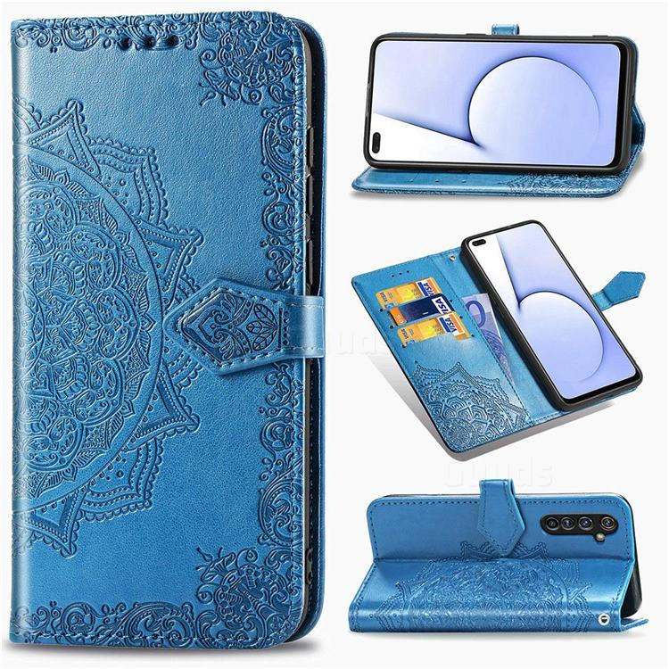 Embossing Imprint Mandala Flower Leather Wallet Case for Oppo Realme X50 Pro 5G - Blue