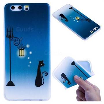 Street Light Cat 3D Relief Matte Soft TPU Back Cover for Huawei P10