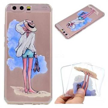 Beach Girl Super Clear Soft TPU Back Cover for Huawei P10