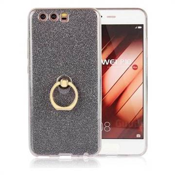 Luxury Soft TPU Glitter Back Ring Cover with 360 Rotate Finger Holder Buckle for Huawei P10 - Black