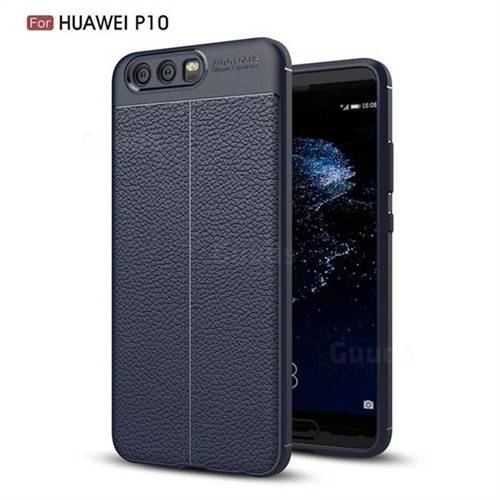 Luxury Auto Focus Litchi Texture Silicone TPU Back Cover for Huawei P10 - Dark Blue