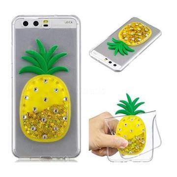 Gold Pineapple Liquid Quicksand Soft 3D Cartoon Case for Huawei P10