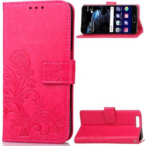 Embossing Imprint Four-Leaf Clover Leather Wallet Case for Huawei P10 - Rose