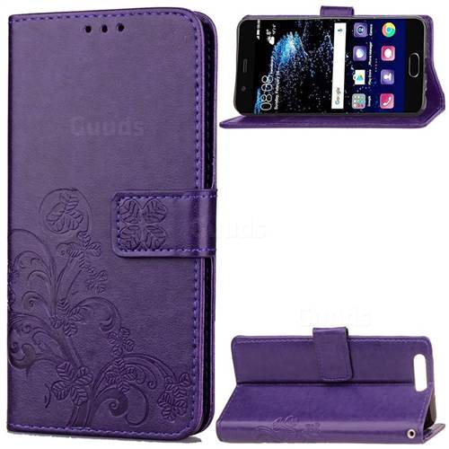 Embossing Imprint Four-Leaf Clover Leather Wallet Case for Huawei P10 - Purple