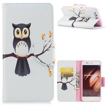 Owl on Tree Leather Wallet Case for Huawei P10