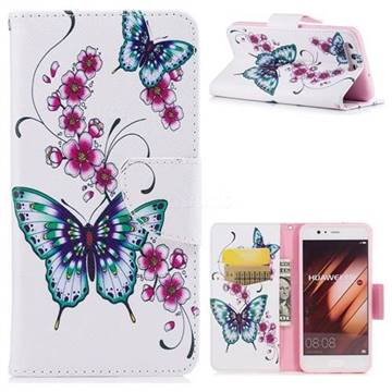 Peach Butterfly Leather Wallet Case for Huawei P10