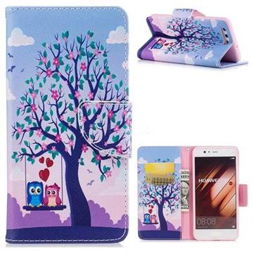 Tree and Owls Leather Wallet Case for Huawei P10