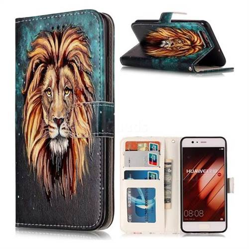 Ice Lion 3D Relief Oil PU Leather Wallet Case for Huawei P10
