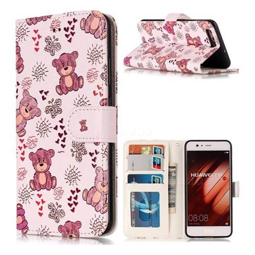 Cute Bear 3D Relief Oil PU Leather Wallet Case for Huawei P10