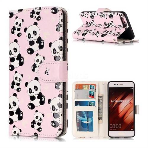 Cute Panda 3D Relief Oil PU Leather Wallet Case for Huawei P10