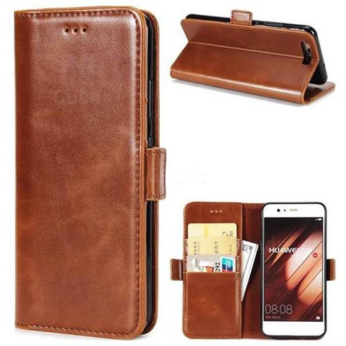 Luxury Crazy Horse PU Leather Wallet Case for Huawei P10 - Brown