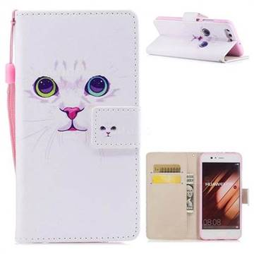 White Cat PU Leather Wallet Case for Huawei P10