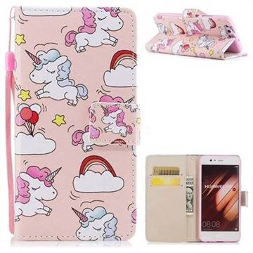 Rainbow Unicorn PU Leather Wallet Case for Huawei P10