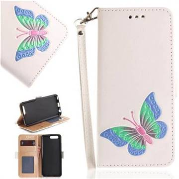 Imprint Embossing Butterfly Leather Wallet Case for Huawei P10 - White