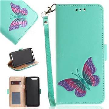 Imprint Embossing Butterfly Leather Wallet Case for Huawei P10 - Mint Green