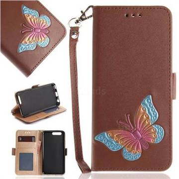 Imprint Embossing Butterfly Leather Wallet Case for Huawei P10 - Brown