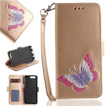 Imprint Embossing Butterfly Leather Wallet Case for Huawei P10 - Golden