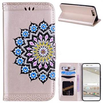 Datura Flowers Flash Powder Leather Wallet Holster Case for Huawei P10 - Golden