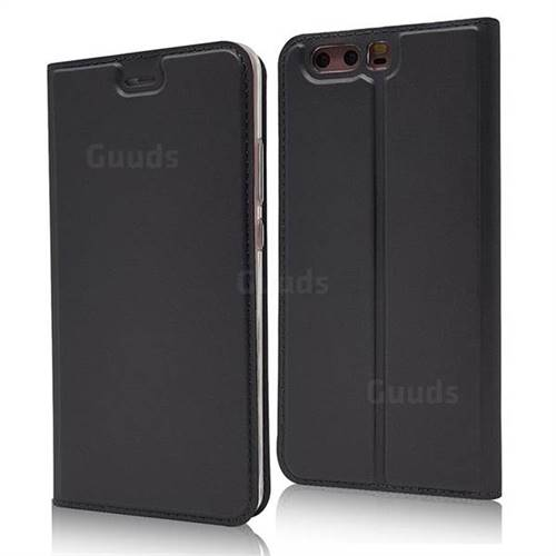 Ultra Slim Card Magnetic Automatic Suction Leather Wallet Case for Huawei P10 - Star Grey