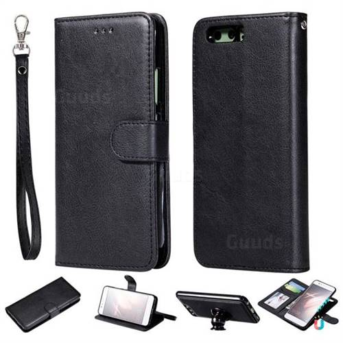Retro Greek Detachable Magnetic PU Leather Wallet Phone Case for Huawei P10 - Black