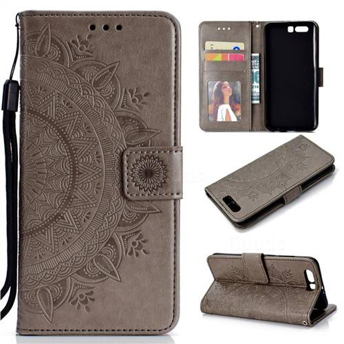 Intricate Embossing Datura Leather Wallet Case for Huawei P10 - Gray