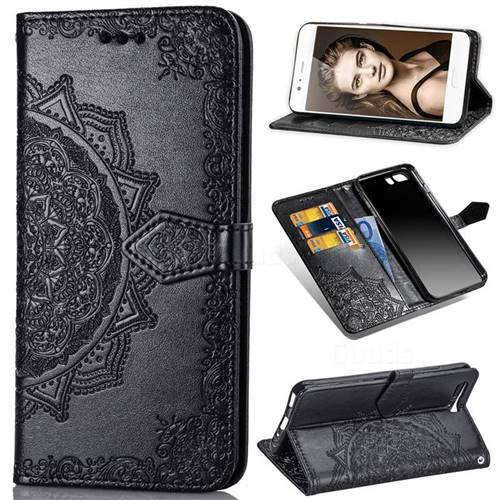 Embossing Imprint Mandala Flower Leather Wallet Case for Huawei P10 - Black