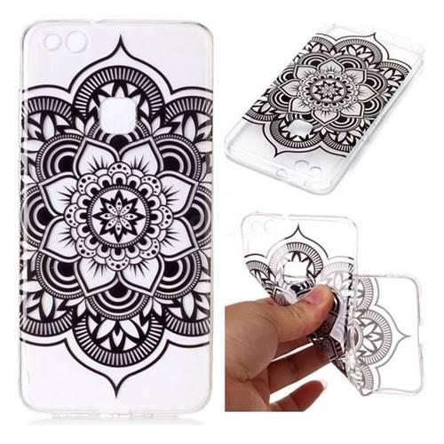 Black Mandala Flower Super Clear Soft TPU Back Cover for Huawei ...