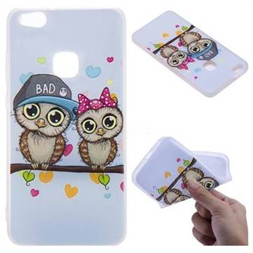Couple Owls 3D Relief Matte Soft TPU Back Cover for Huawei P10 Lite P10Lite