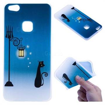 Street Light Cat 3D Relief Matte Soft TPU Back Cover for Huawei P10 Lite P10Lite