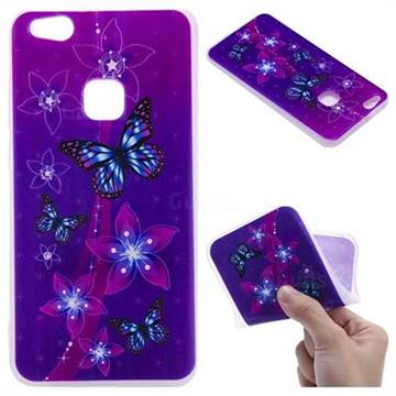 Butterfly Flowers 3D Relief Matte Soft TPU Back Cover for Huawei P10 Lite P10Lite