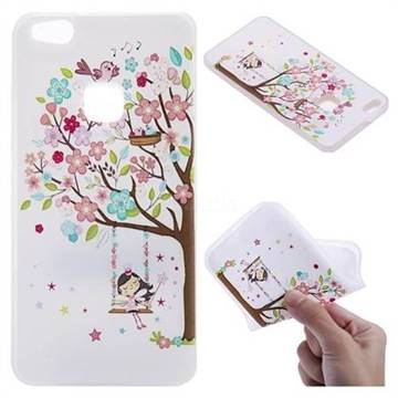 Tree and Girl 3D Relief Matte Soft TPU Back Cover for Huawei P10 Lite P10Lite