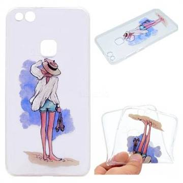 Beach Girl Super Clear Soft TPU Back Cover for Huawei P10 Lite P10Lite