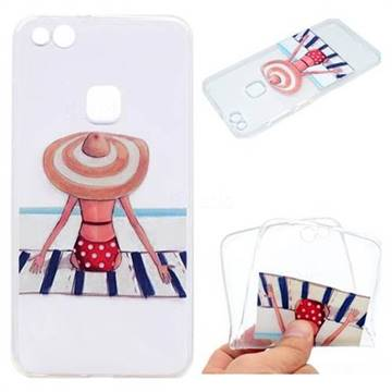 Beach Chair Girl Super Clear Soft TPU Back Cover for Huawei P10 Lite P10Lite
