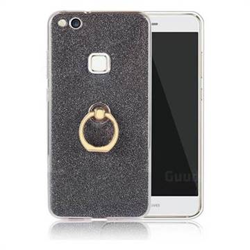 Luxury Soft TPU Glitter Back Ring Cover with 360 Rotate Finger Holder Buckle for Huawei P10 Lite P10Lite - Black
