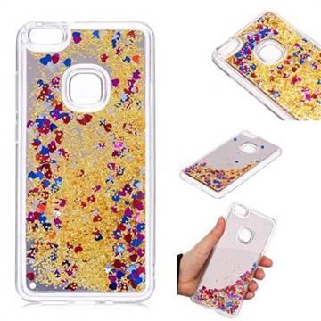 Glitter Sand Mirror Quicksand Dynamic Liquid Star TPU Case for Huawei P10 Lite P10Lite - Yellow