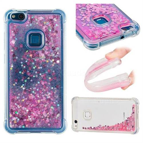 Dynamic Liquid Glitter Sand Quicksand TPU Case for Huawei P10 Lite P10Lite - Pink Love Heart