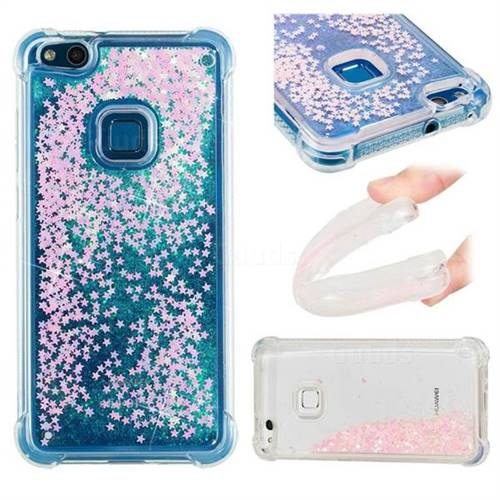 Dynamic Liquid Glitter Sand Quicksand TPU Case for Huawei P10 Lite P10Lite - Silver Powder Star