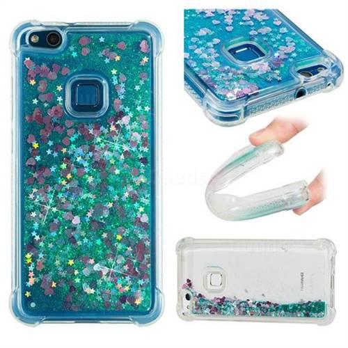 Dynamic Liquid Glitter Sand Quicksand TPU Case for Huawei P10 Lite P10Lite - Green Love Heart