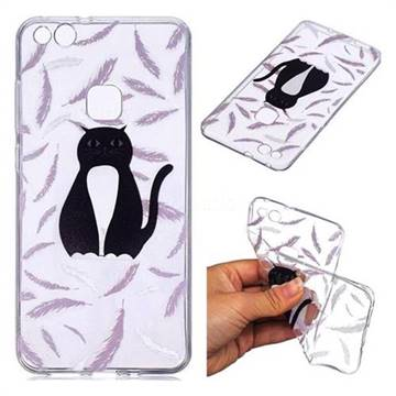 Feather Black Cat Super Clear Soft TPU Back Cover for Huawei P10 Lite P10Lite