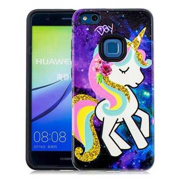 Rainbow Horse Pattern 2 in 1 PC + TPU Glossy Embossed Back Cover for Huawei P10 Lite P10Lite