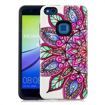 Mandara Flower Pattern 2 in 1 PC + TPU Glossy Embossed Back Cover for Huawei P10 Lite P10Lite