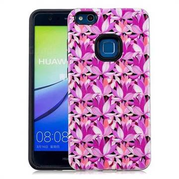 Lotus Flower Pattern 2 in 1 PC + TPU Glossy Embossed Back Cover for Huawei P10 Lite P10Lite