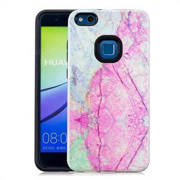 Pink Marble Pattern 2 in 1 PC + TPU Glossy Embossed Back Cover for Huawei P10 Lite P10Lite
