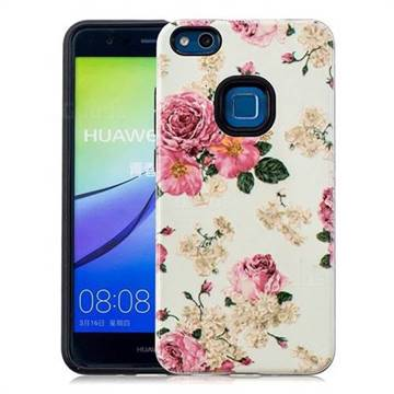 Rose Flower Pattern 2 in 1 PC + TPU Glossy Embossed Back Cover for Huawei P10 Lite P10Lite