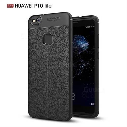 Luxury Auto Focus Litchi Texture Silicone TPU Back Cover for Huawei P10 Lite P10Lite - Black